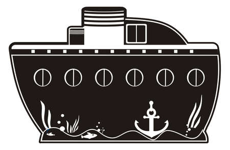 toy boat: illustration - black silhouette of a toy boat with anchor and portholes