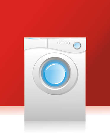 front loading: illustration - white washing machine with a front loading