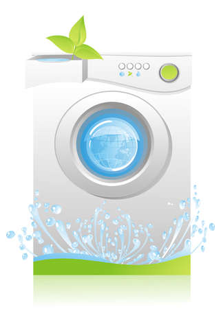 concept - energy and water savings for machine washing Ilustração
