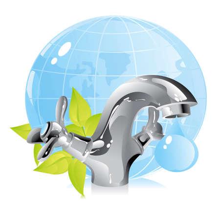 concepto de la conservación de los recursos naturales - agua Ilustración de vector