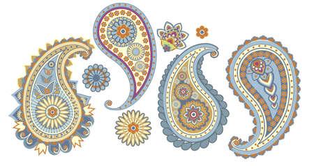 motif cachemire: �l�ments traditionnels asiatiques Paisley sur un fond blanc Illustration