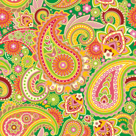 hinduism: Seamless pattern based on traditional Asian elements Paisley