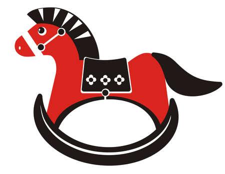 schommelpaard: Children's illustratie - zwart en rood silhouet hobbelpaard