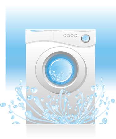 laundry machine: illustration - white washing machine with a front loading