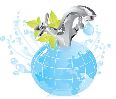 ressources naturelles: concept sur la conservation des ressources naturelles - l'eau Illustration