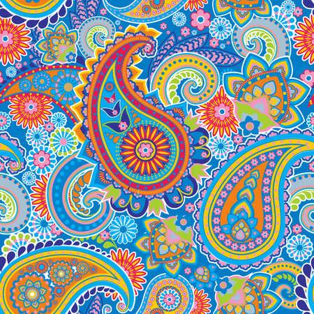 hinduismo: Seamless pattern basada en elementos tradicionales asiáticos Paisley