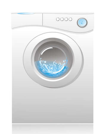 washer: illustration - white washing machine with a front loading