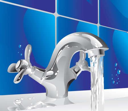 llave de agua: grifo de metal brillante con un chorro de agua