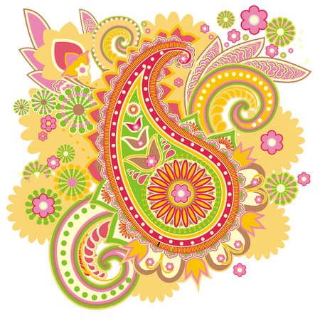 paisley pattern: modèle basé sur des éléments traditionnels asiatiques Paisley