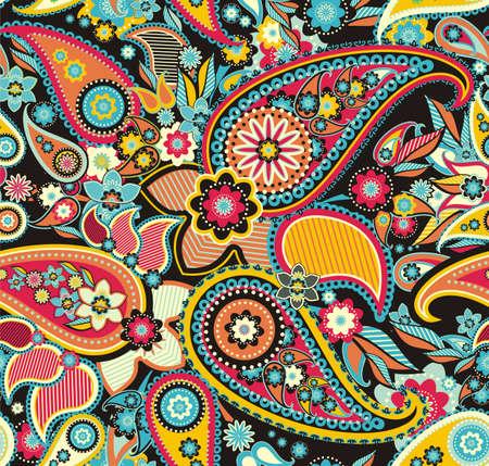 hinduismo: Seamless pattern com base em elementos tradicionais asiáticos Paisley