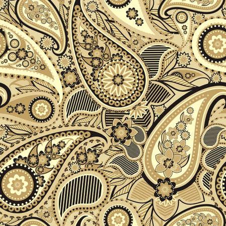 monochroom: Naadloze patroon gebaseerd op de traditionele Aziatische elementen Paisley