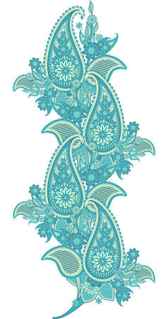 pattern border based on traditional Asian elements Paisley Illustration