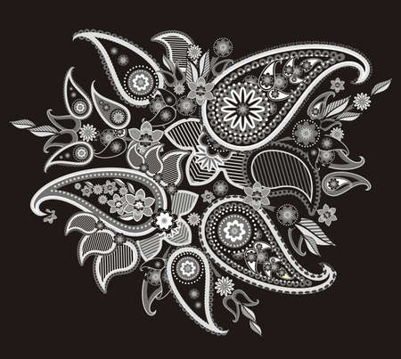 pattern based on traditional Asian elements Paisley Vector