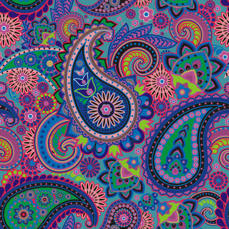 motif cachemire: Seamless pattern fond?e sur des ?l?ments traditionnels asiatiques Paisley Illustration