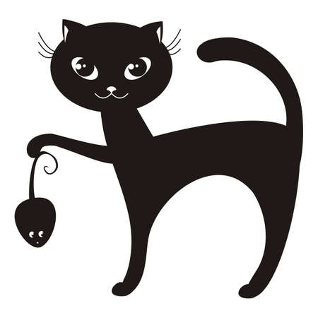 silueta de gato: ilustración de dibujos animados de un gato negro