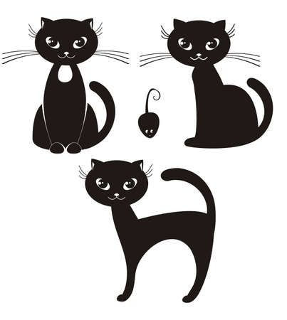 silueta de gato: ilustraci�n de dibujos animados de un gato negro