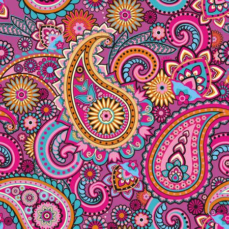 페이즐리 아시아 전통 요소를 기반으로 원활한 패턴