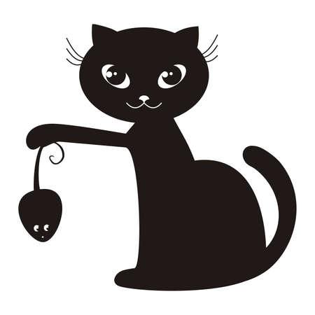 cartoon illustration of a black cat Vector