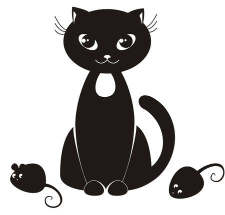 cartoon illustration of a black cat