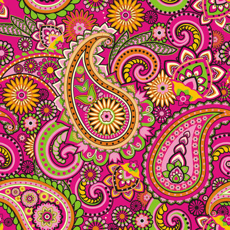 rosa negra: Seamless pattern basada en elementos tradicionales asi?ticos Paisley