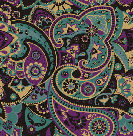 아시아 전통 요소를 기반으로 원활한 패턴 페이즐리