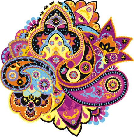 아시아 전통 요소를 기반으로 패턴 페이즐리
