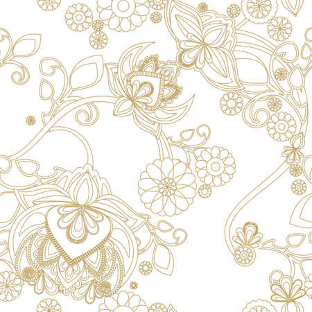 Seamless background with vintage floral pattern Vector