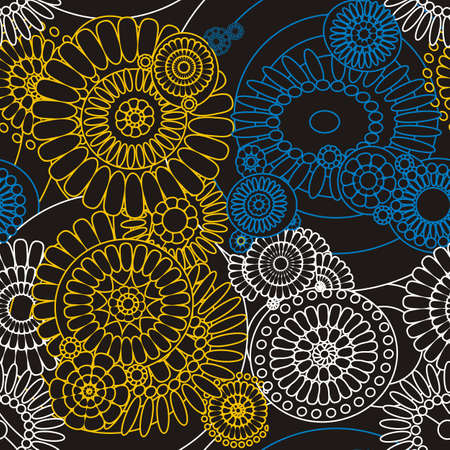 seamless pattern of decorative stylized flowers Vector