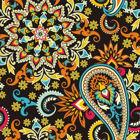 Nahtlose Muster auf traditionellen asiatischen Elementen Paisley Basis Standard-Bild - 38387464