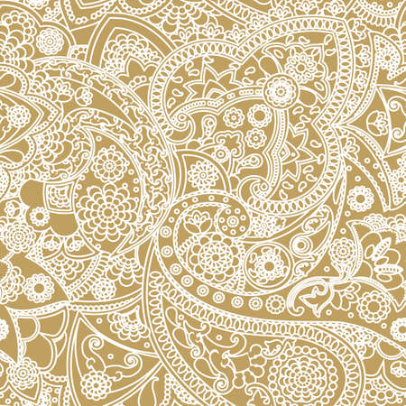 gold brown: Seamless pattern based on traditional Asian elements Paisley
