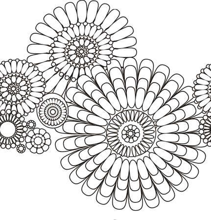 lijntekening: naadloze patroon van decoratieve gestileerde bloemen Stock Illustratie