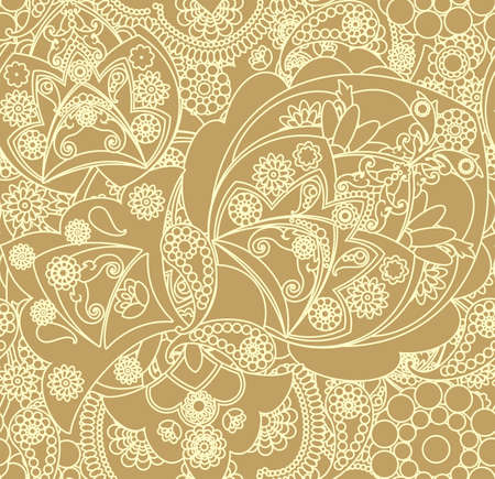 gold brown: floral pattern in vintage style