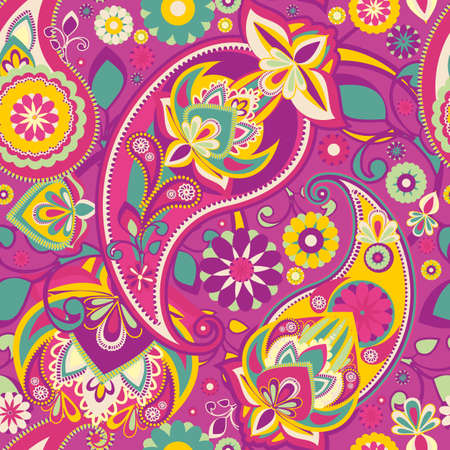 Seamless pattern based on traditional Asian elements Paisley. Vibrant pink.