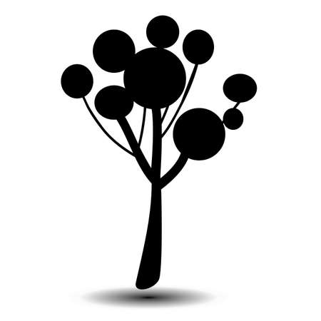 arboles blanco y negro: Stylized symbol of the tree. A template for a logo or a design element.