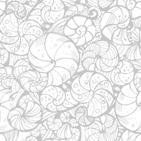 ringlet: Hand-drawing Seamless pattern of seashells.