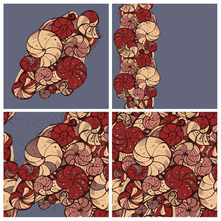 curlicue: Set of stylized patterns of shells of different composition.It includes three seamless background. Hand drawing. Illustration