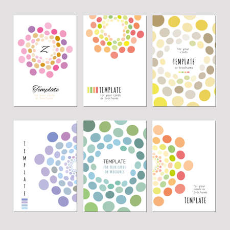 light abstract: A set of template for card, notebook, album, brochure, booklet, poster, banner. Abstract circle pattern pastel tones on a light background.