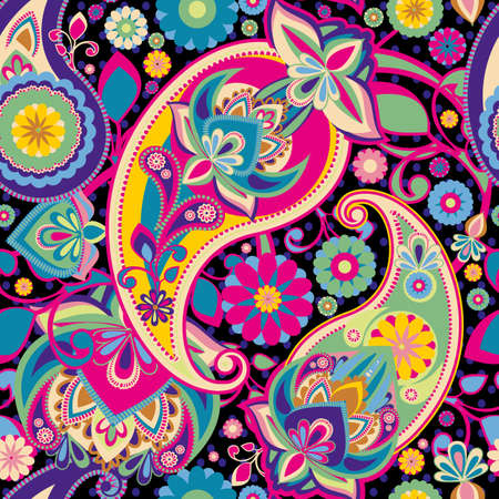 Seamless pattern based on traditional Asian elements Paisley. Purple, pink, green, bright colors.