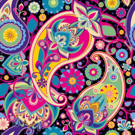 disegni cachemire: Seamless basata su elementi tradizionali asiatici Paisley. Viola, rosa, verde, colori vivaci.