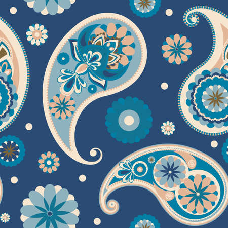 Seamless pattern based on traditional Asian elements Paisley. Pastel blue. Illusztráció