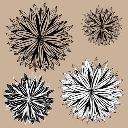 disegno a mano: Set di mano fiori di disegno.