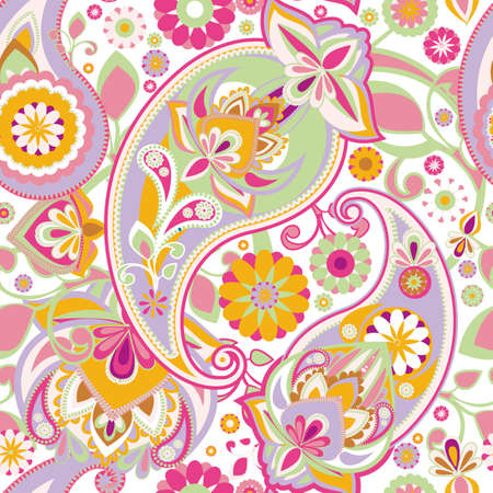 Seamless pattern based on traditional Asian elements Paisley. Delicate pink tone. Illustration