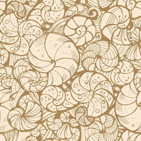 graphically: Hand-drawing Seamless pattern of seashells.
