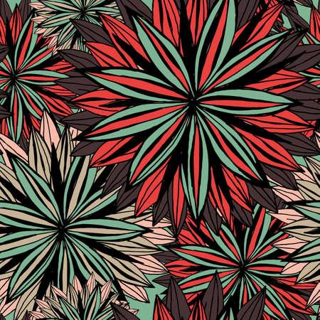 patrones de flores: Seamless patrón de flores grandes. Dibujo a mano.