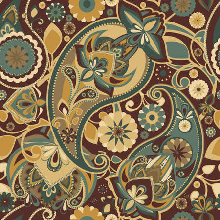 restrained: Seamless pattern based on traditional Asian elements Paisley. Restrained brown tones with a greenish-gray.