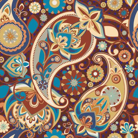 discreto: Patrón transparente basado en elementos tradicionales asiáticos Paisley. Un marrón-azul discreto.