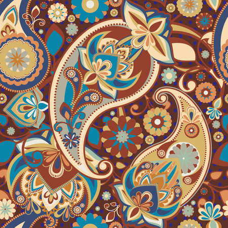 discreet: Seamless pattern based on traditional Asian elements Paisley. A discreet brown-blue. Illustration