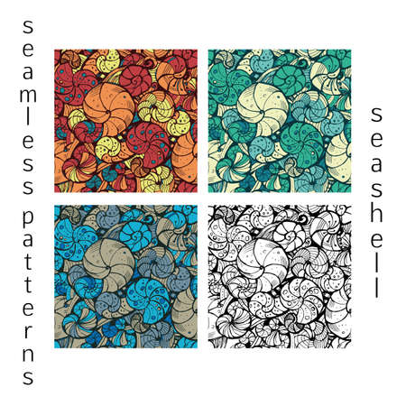 ringlets: Set of stylized seamless pattern of seashells with different color. Hand drawing. Illustration