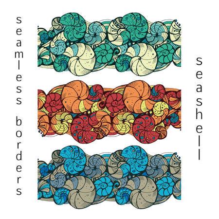 disegno a mano: Serie di stilizzato seamless di conchiglie con colore diverso. Disegno a mano.