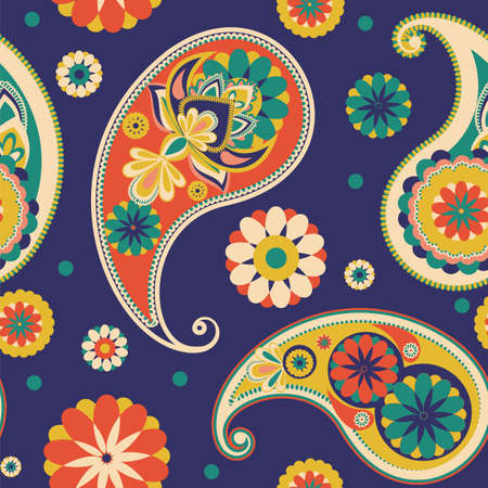 Seamless pattern based on traditional Asian elements Paisley. Dark blue, pink, green